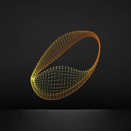 forme geometrique: Wireframe objet avec des lignes et des points. Résumé Structure de connexion 3D. Forme géométrique pour la conception. Lattice géométrique Element, emblème et Icône. Grille de connexion. Grille moléculaire. Style de la technologie 3D. Illustration