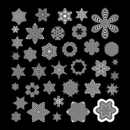 symetric: Black and White Abstract Design Elements. Optical Art. Vector Illustration. Illustration