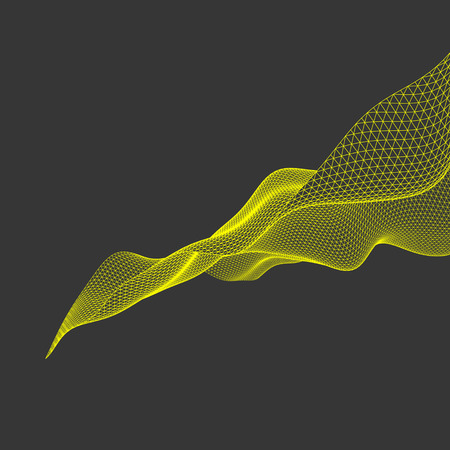 undulated: Wavy Grid Background. Abstract Vector Illustration. Connection Structure. Futuristic Technology Style. 3D Perspective Grid. Illustration