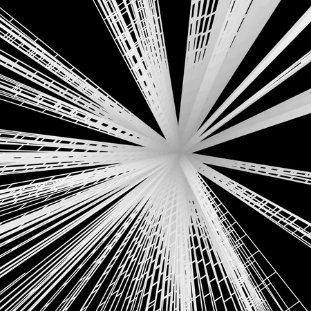 fibers: Connection Structure. Wireframe Vector Illustration. 3D Abstract Background. Optical Fiber. Illustration