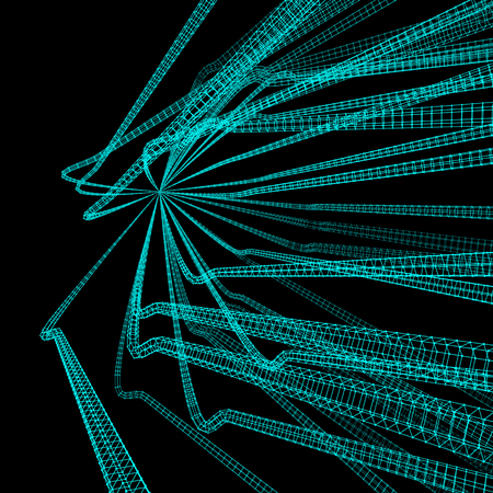 perspective grid: Connection Structure. Wireframe Vector Illustration. Abstract background. Futuristic Technology Style. 3D Perspective Grid. Illustration