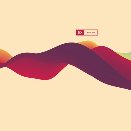 billowy: 3D Wavy Background. Dynamic Effect. Abstract Vector Illustration. Design Template. Modern Pattern. Illustration