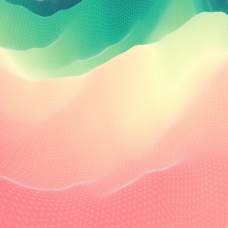 surfaces: 3d Perspective Grid Background Texture. Mosaic. Lattice Effect. Illustration