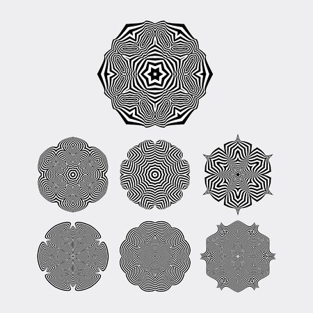 arte optico: Snowflakes. Abstract Design Elements. Optical Art. Vector illustration.