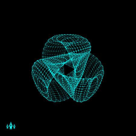 trefoil: Trefoil Knot. Connection Structure. Vector 3D Illustration.