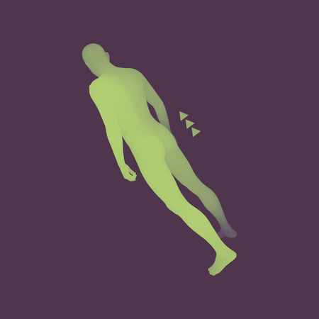 stride: Walking Man. 3D Human Body Model. Design Element. Vector Illustration.