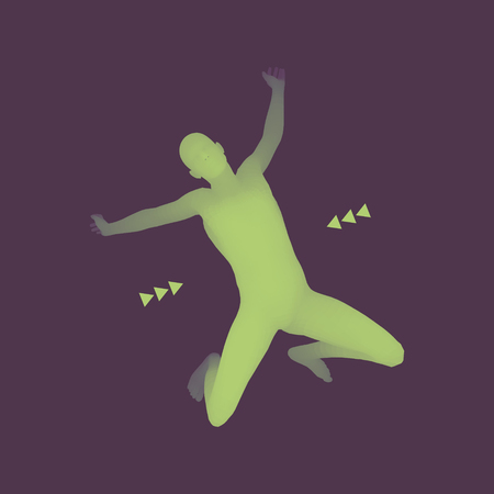 symbol sport: Jumping Man. 3D-Modell des Menschen. Menschlicher Körper. Sport Symbol. Design-Element für Wirtschaft, Wissenschaft und Technologie. Vektor-Illustration.