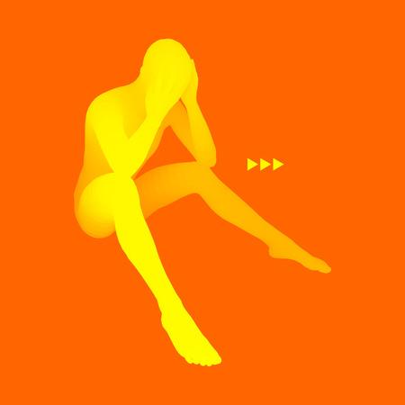 hopelessness: Man Thinks about a Problem. Despair, Depression, Hopelessness, Addiction Concept. 3D Model of Man. Vector Illustration.