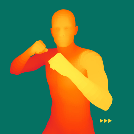 Boxer. 3D Model of Man. Human Body. Sport Symbol. Design Element. Vector Illustration.
