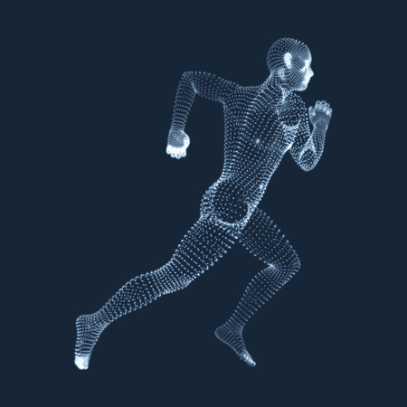 competition: Running Man. Vector Graphics Composed of Particles. 3D Model of Man. Human Body Model. Body Scanning. View of Human Body.