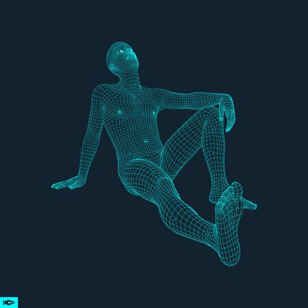 innovation concept: 3D Model of Man. Polygonal Design. Geometric Design. Business, Science and Technology Vector Illustration. 3d Polygonal Covering Skin. Human Polygon Body. Human Body Wire Model. Illustration