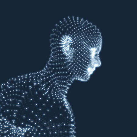 virtual sculpture: Head of the Person from a 3d Grid. Human Head Model. Geometry Man Portrait. Vector Illustration.