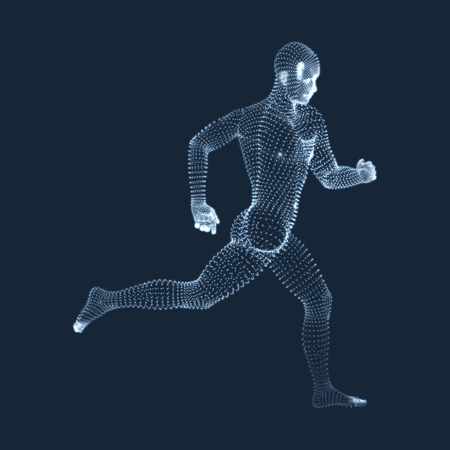 man vector: Running Man. Vector Graphics Composed of Particles. 3D Model of Man. Human Body Model. Body Scanning. View of Human Body.