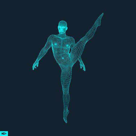 Gimnasta. Hombre. Modelo 3D del Hombre. Modelo del cuerpo humano. Las actividades de gimnasia de Icon Salud y Comunidad Fitness. Ilustración del vector. Ilustración de vector