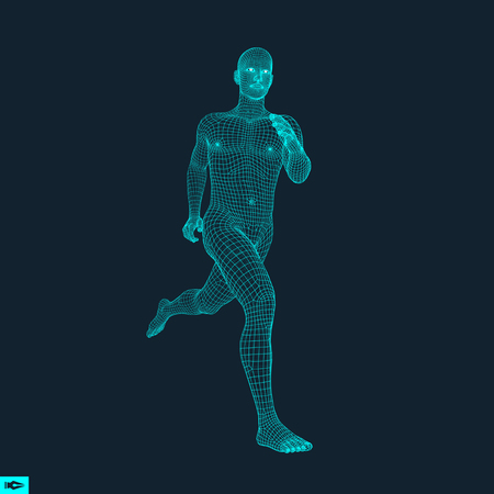 Running Man. Polygonal Design. 3D Model of Man. Geometric Design. Business, Science and Technology Vector Illustration. 3d Polygonal Covering Skin. Human Polygon Body. Human Body Wire Model. Çizim