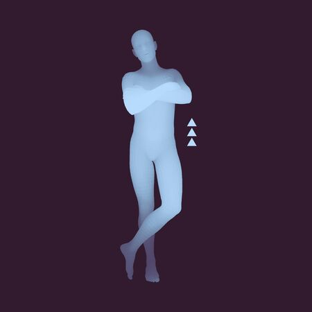 male mannequin: Man Stands on his Feet. Man Crossing His Arms Over His Chest. 3D Human Body Model. Design Element. Vector Illustration.