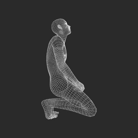 arrepentimiento: Modelo 3D del Hombre. El hombre que ora. Concepto para la religión, adoración, amor y espiritualidad. Ilustración del vector.