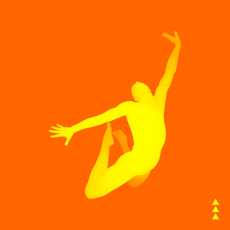 man jumping: Jumping Man. 3D Model of Man. Human Body. Sport Symbol. Design Element for Business, Science and Technology. Vector Illustration.