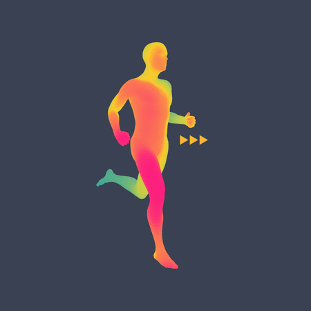 athletes: 3d Running Man. Design for Sport, Business, Science and Technology. Vector Illustration. Human Body. Illustration