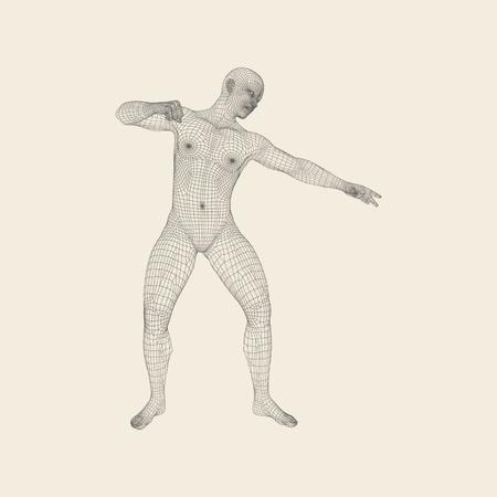 Fighter. Fitness sports. Martial arts. 3D Model of Man. Human Body. Sports Symbol. Design Element. Grid Vector Illustration. Illustration
