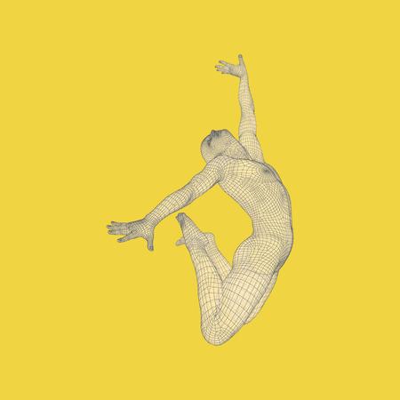 Gymnast performs an artistic element. Rhythmic gymnastics, acrobatics and aerobics. 3D Human Body Model. Vector Illustration. Illustration
