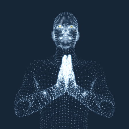 3D-model van de Mens. Man, die bidt. Concept voor Religie, Aanbidding, Liefde en Spiritualiteit. Vector Illustratie. Vector Illustratie
