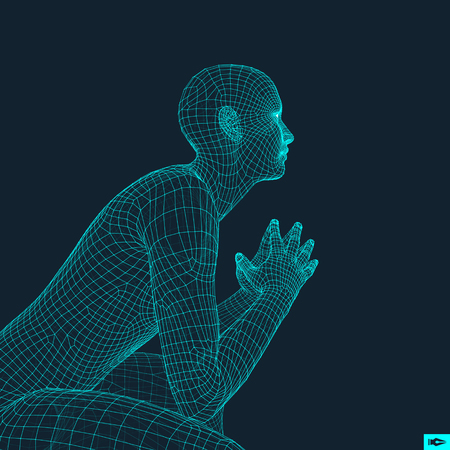 pondering: Man in a Thinker Pose. 3D Model of Man. Geometric Design. Human Body Wire Model. Business, Science, Psychology or Philosophy Vector Illustration.
