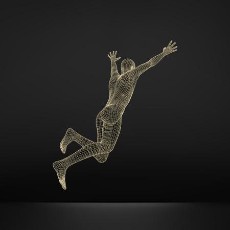 skip: Jump Man. Polygonal Design. 3D Model of Man. Geometric Design. Business, Science and Technology Vector Illustration. 3d Polygonal Covering Skin. Human Polygon Body. Human Body Wire Model.