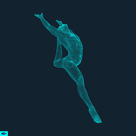 community health: Gymnast. Man. 3D Model of Man. Human Body Model. Gymnastics Activities for Icon Health and Fitness Community. Vector Illustration. Illustration