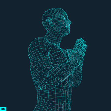 Pleading: 3D Model of Man. Man who prays. Concept for Religion, Worship, Love and Spirituality. Vector Illustration. Illustration