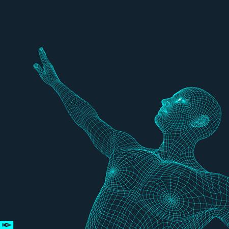 mesh: Man Points to Something by Hand. 3D Model of Man. Geometric Design. Vector Illustration. Illustration