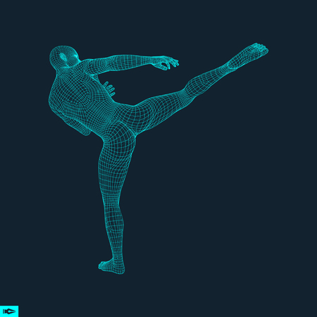 Fighter. Sports concept. 3D Model of Man. Human Body. Sport Symbol. Design Element. Polygonal Design. Vector Illustration. Ilustração