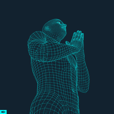 implore: 3D Model of Man. Man who prays. Concept for Religion, Worship, Love and Spirituality. Vector Illustration. Illustration