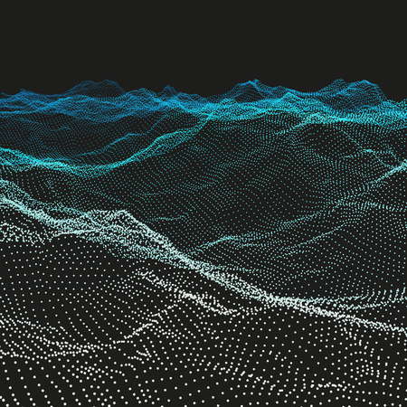 Wavy Grid Background. Ripple Grid. Abstract Vector Illustration. 3D Technology Style. Illustration with Dots. Network Design with Particle. Vector Illustration
