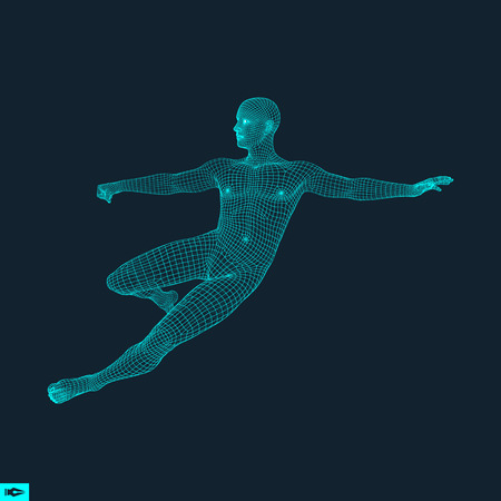 Football player. Sports concept. 3D Model of Man. Human Body. Sport Symbol. Design Element. Vector Illustration.