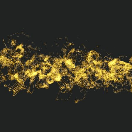 reflect: Array with Dynamic Particles. Wavy Background. Composition with Motion Effect. Abstract Vector illustration.