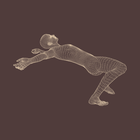 caida libre: 3d hombre resbalones y caídas. Silueta de un hombre caído. Modelo 3D del Hombre. Modelo del cuerpo humano. Ilustración del vector.