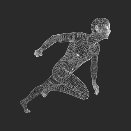 3d Running Man. Human Body Wire Model. Sport Symbol. Low-poly Man in Motion. Vector Geometric Illustration.