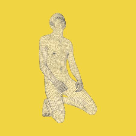 Man kneeling and praying to God. 3D Human Body Model. Design Element. Vector Illustration.