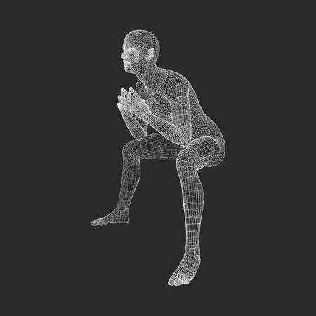 Man dans un Penseur Pose. Modèle 3D de l'homme. Conception géométrique. Modèle de fil du corps humain. Affaires, Science, psychologie ou philosophie Vector Illustration.