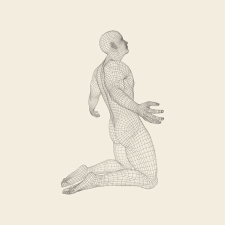 Pleading: Man kneeling and praying to God. 3D Human Body Model. Design Element. Vector Illustration.