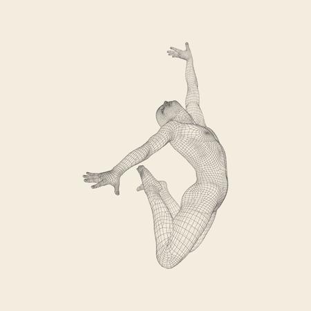 Gimnasta. Modelo 3D del Hombre. Modelo del cuerpo humano. Las actividades de gimnasia de Icon Salud y Comunidad Fitness. Ilustración de vector