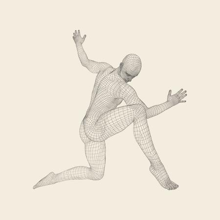 De man is aan het poseren en dansen. Silhouet van een danser. Een danser voert acrobatische elementen uit. Sport? Oncept. 3D Model van de Mens. Menselijk lichaam. Sport Symbool. Design Element. Vectorillustratie.
