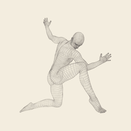Man is Posing and Dancing. Silhouette of a Dancer. A Dancer Performs Acrobatic Elements. Sports ?oncept. 3D Model of Man. Human Body. Sport Symbol. Design Element. Vector Illustration.