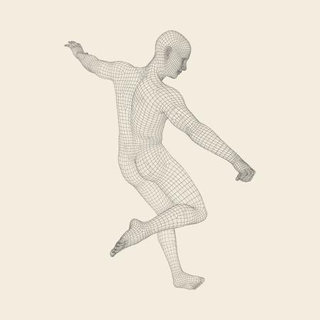 kickoff: Football player. Sports concept. 3D Model of Man. Human Body. Sport Symbol. Design Element. Vector Illustration.