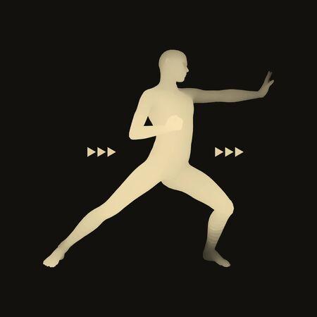 Fighter. Sports concept. 3D Model of Man. Human Body. Sport Symbol. Design Element. Vector Illustration. Ilustração