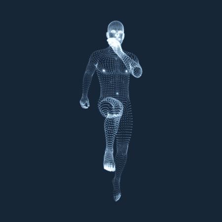 粒子から成るマン ベクトル グラフィックスを実行します。人間の人体の 3 D モデル。ボディ スキャンします。人間の体の様子