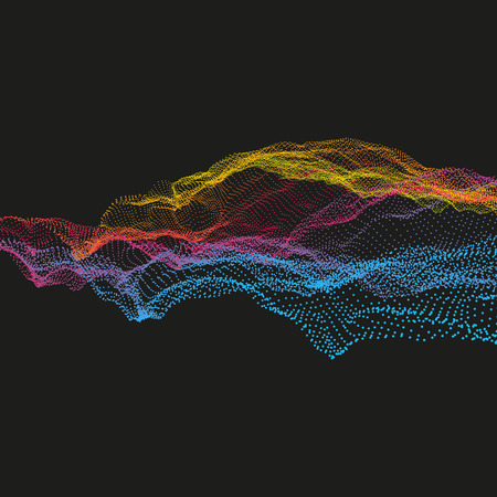 Wavy Grid Background. Ripple Grid. Abstract Vector Illustration. 3D Technology Style. Illustration with Dots. Network Design with Particle.