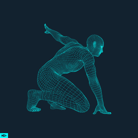 ready: Athlete at Starting Position Ready to Start a Race. Runner Ready for Sports Exercise. Human Body Wire Model. Sport Symbol. 3d Vector Illustration.