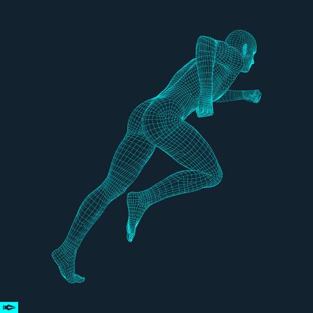 3d Running Man. Projekt dla sportu, biznesu, nauki i technologii. Ilustracja wektora. Ludzkie ciało.